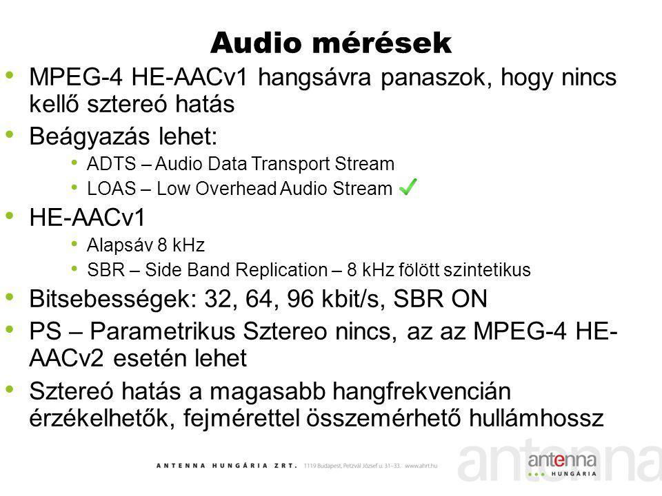 Audio mérések MPEG-4 HE-AACv1 hangsávra panaszok, hogy nincs kellő sztereó hatás Beágyazás lehet: ADTS – Audio Data Transport Stream LOAS – Low Overhe