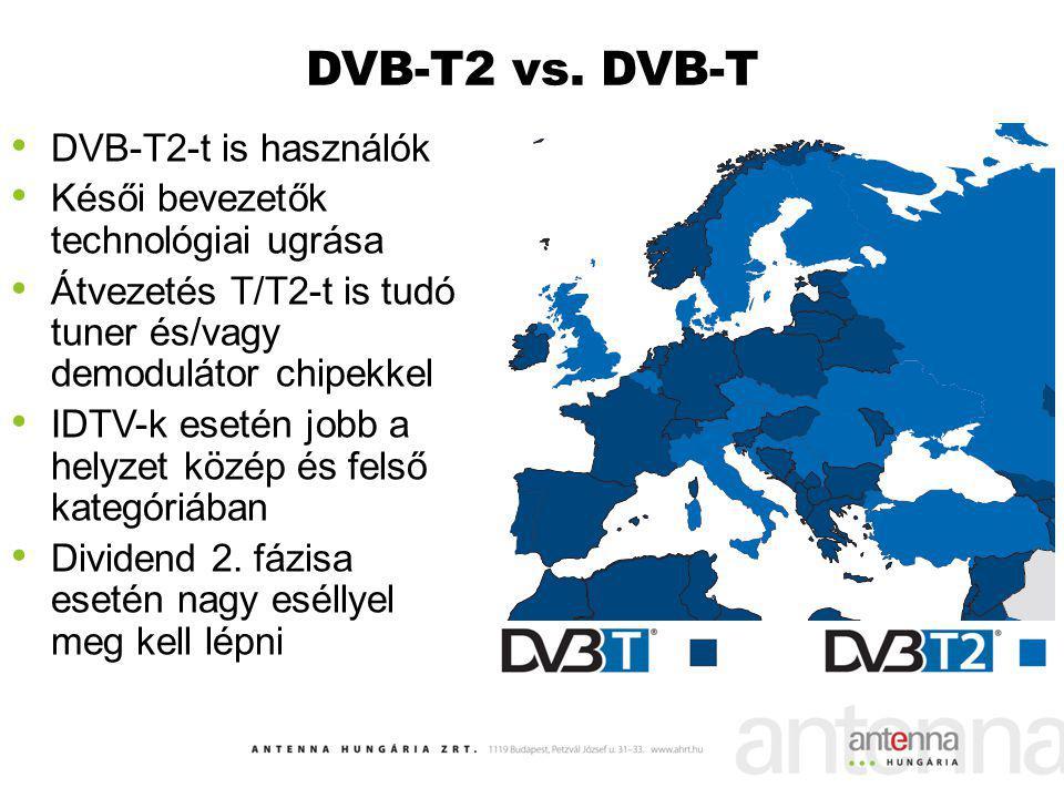 DVB-T2 vs. DVB-T DVB-T2-t is használók Késői bevezetők technológiai ugrása Átvezetés T/T2-t is tudó tuner és/vagy demodulátor chipekkel IDTV-k esetén