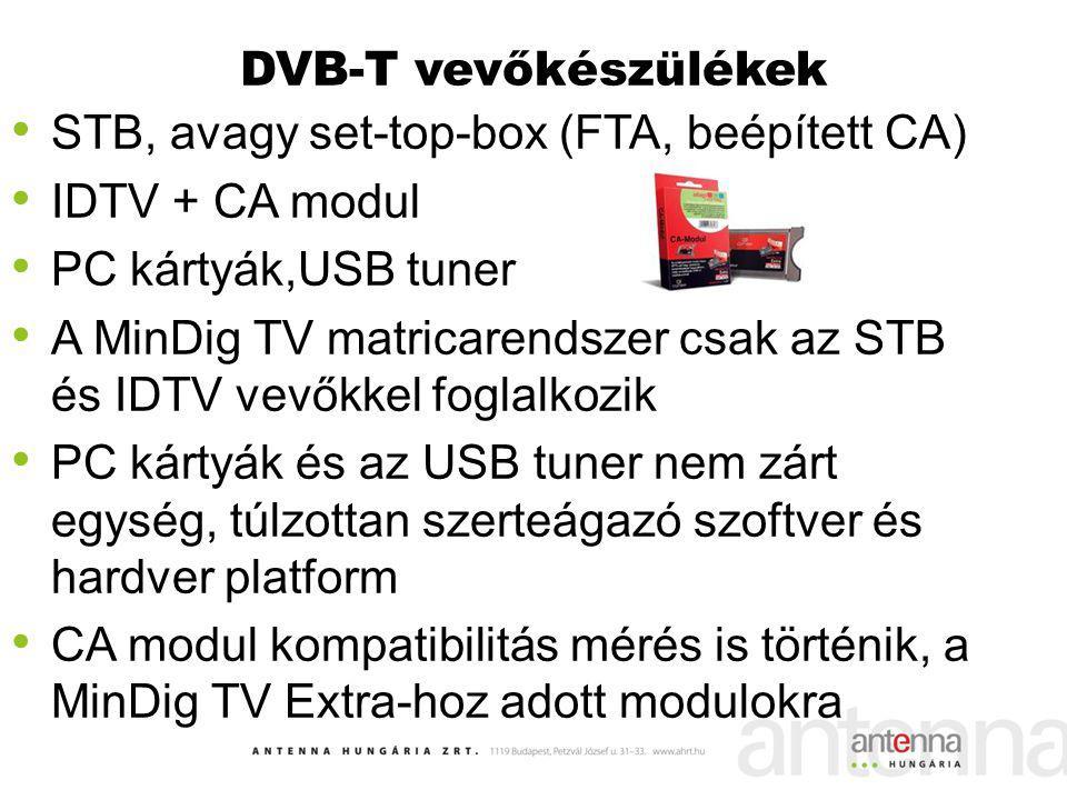 DVB-T vevőkészülékek STB, avagy set-top-box (FTA, beépített CA) IDTV + CA modul PC kártyák,USB tuner A MinDig TV matricarendszer csak az STB és IDTV v