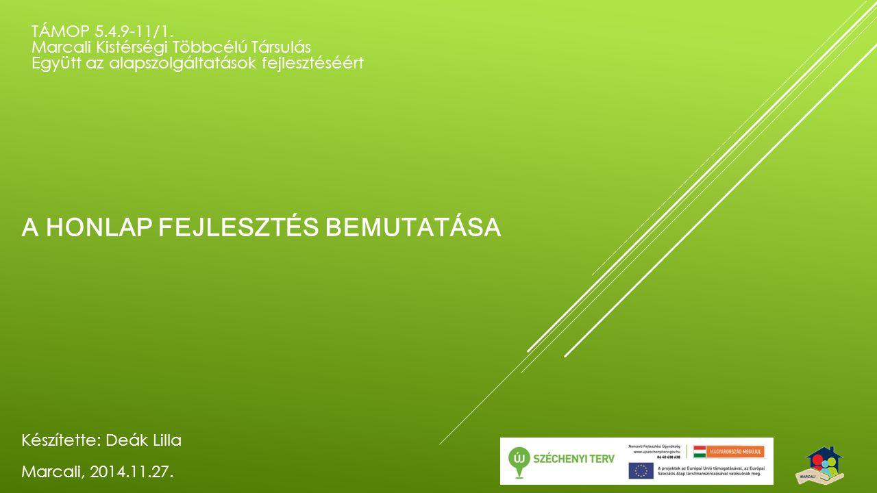 A HONLAP FEJLESZTÉS BEMUTATÁSA TÁMOP 5.4.9-11/1.