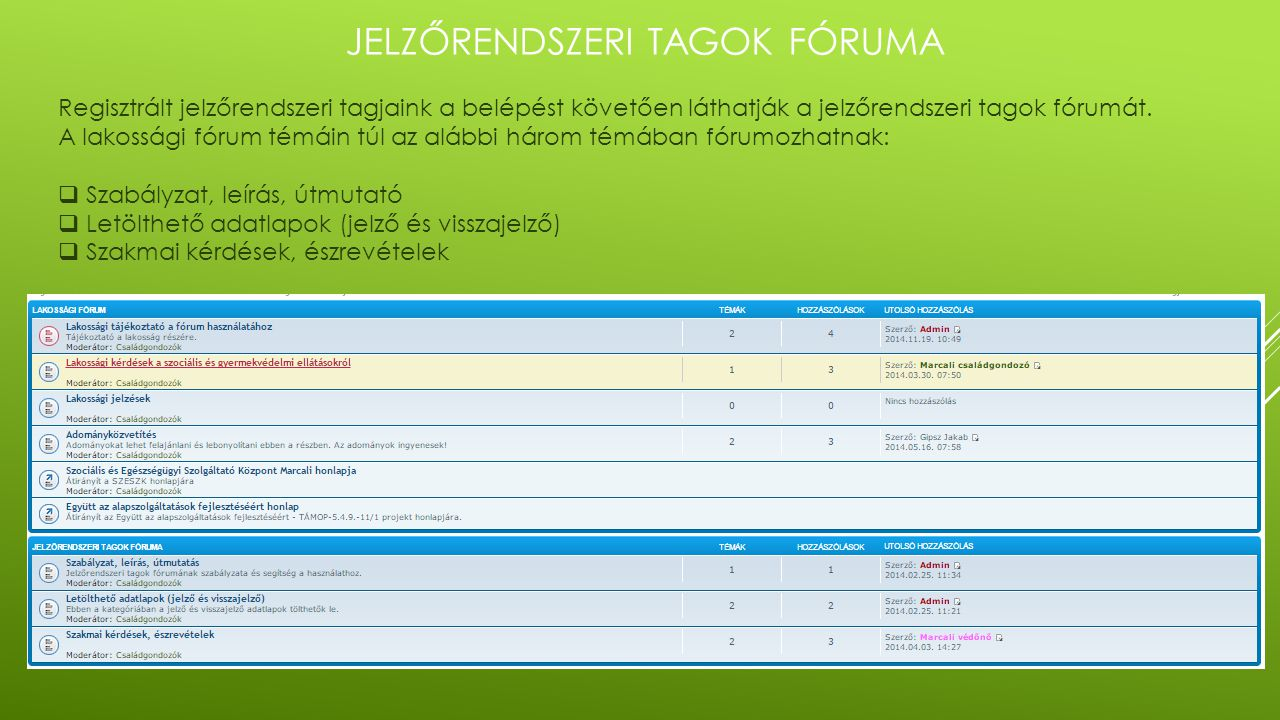 JELZŐRENDSZERI TAGOK FÓRUMA Regisztrált jelzőrendszeri tagjaink a belépést követően láthatják a jelzőrendszeri tagok fórumát. A lakossági fórum témáin