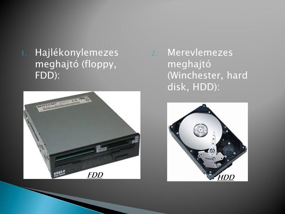 1. Hajlékonylemezes meghajtó (floppy, FDD): 2. Merevlemezes meghajtó (Winchester, hard disk, HDD): FDD HDD