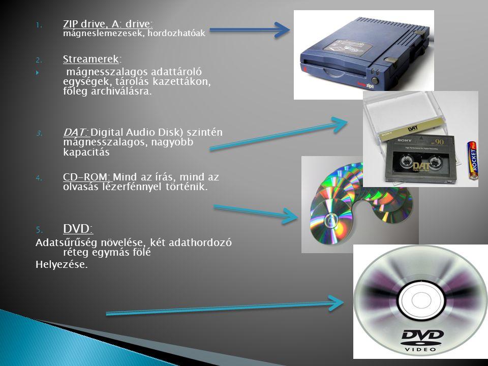 1. ZIP drive, A: drive: mágneslemezesek, hordozhatóak 2. Streamerek:  mágnesszalagos adattároló egységek, tárolás kazettákon, fõleg archiválásra. 3.