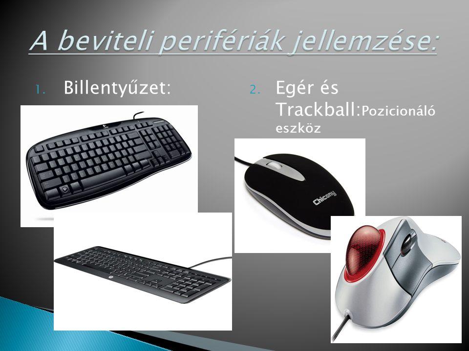1. Billentyűzet: 2. Egér és Trackball: Pozicionáló eszköz