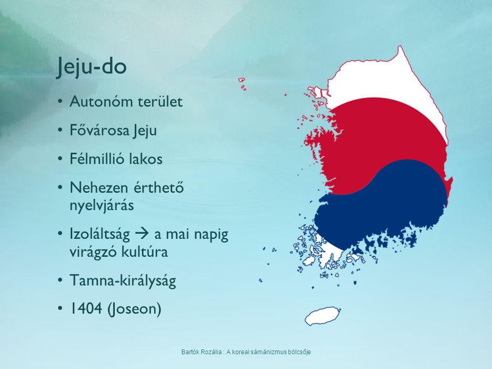 Bartók Rozália : A koreai sámánizmus bölcsője Jeju-do Autonóm terület Fővárosa Jeju Félmillió lakos Nehezen érthető nyelvjárás Izoláltság  a mai napi