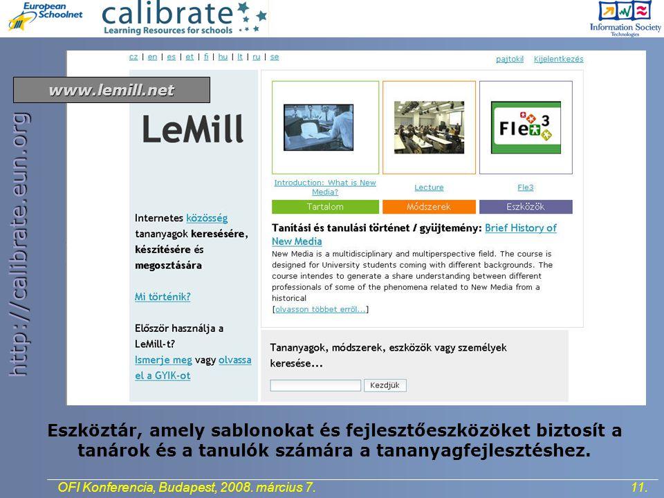 http://calibrate.eun.org 11.OFI Konferencia, Budapest, 2008.