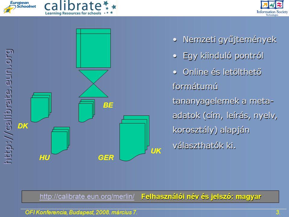 http://calibrate.eun.org 3.OFI Konferencia, Budapest, 2008.