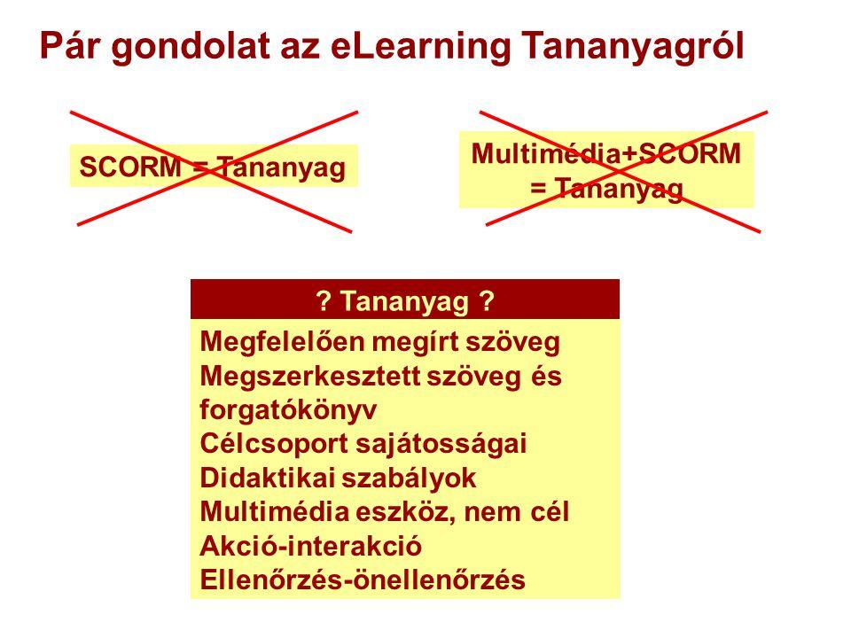 Pár gondolat az eLearning Tananyagról Multimédia+SCORM = Tananyag SCORM = Tananyag .