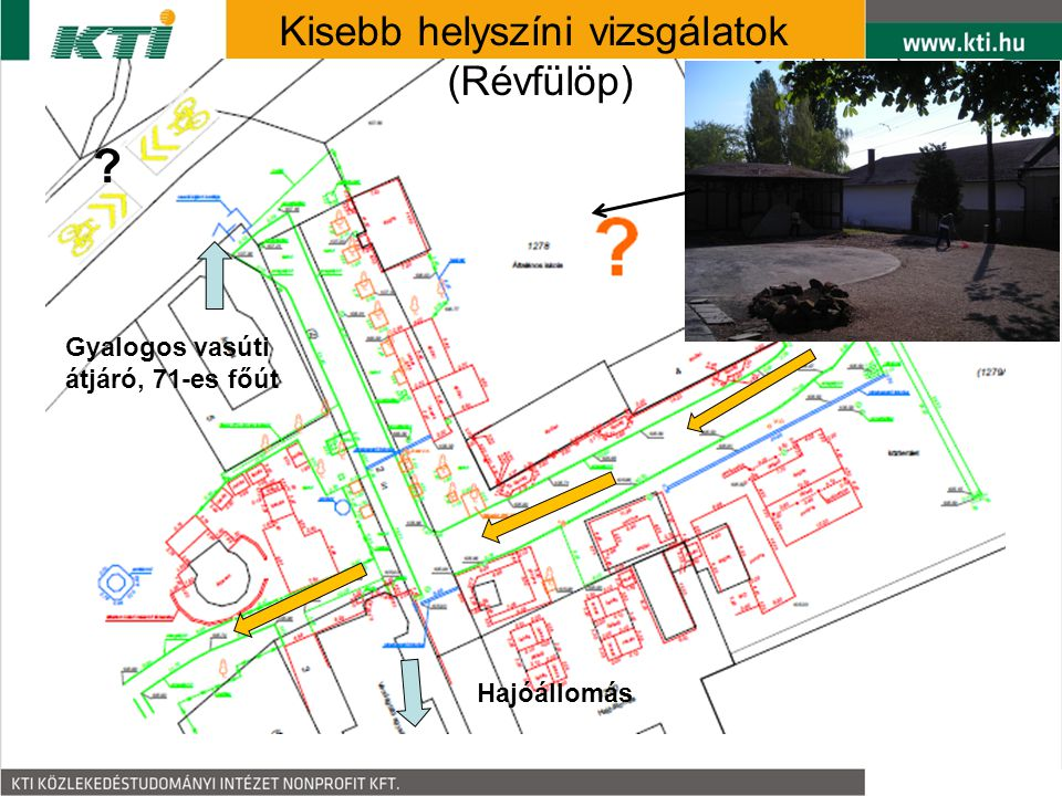 Hajóállomás Gyalogos vasúti átjáró, 71-es főút Kisebb helyszíni vizsgálatok (Révfülöp) ?