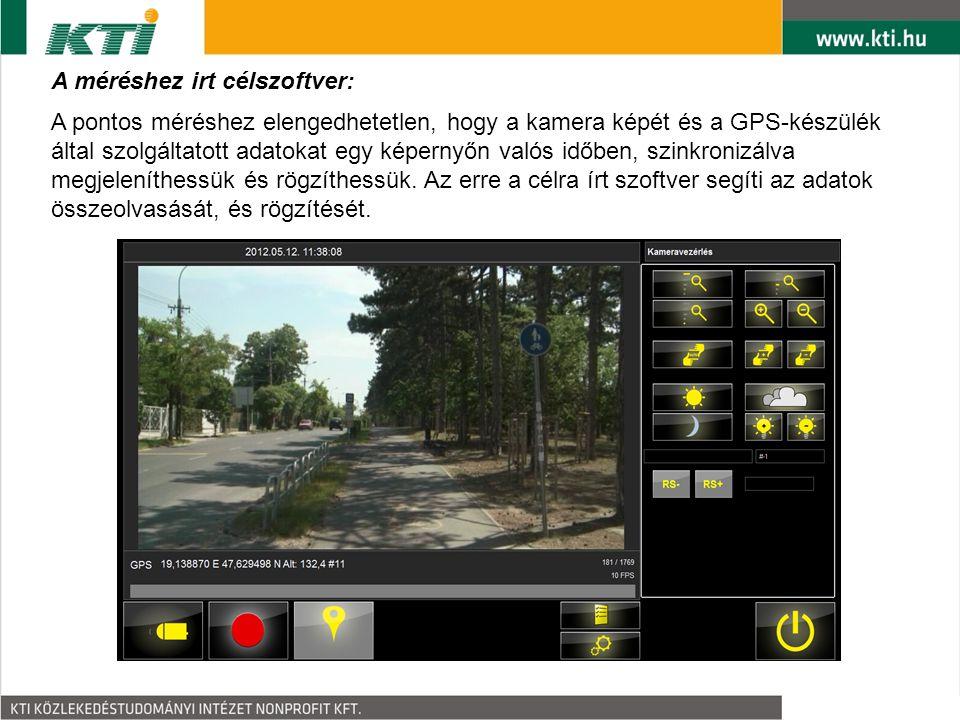 A méréshez irt célszoftver: A pontos méréshez elengedhetetlen, hogy a kamera képét és a GPS-készülék által szolgáltatott adatokat egy képernyőn valós