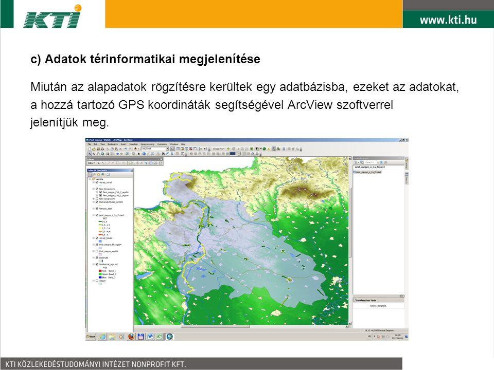 c) Adatok térinformatikai megjelenítése Miután az alapadatok rögzítésre kerültek egy adatbázisba, ezeket az adatokat, a hozzá tartozó GPS koordináták