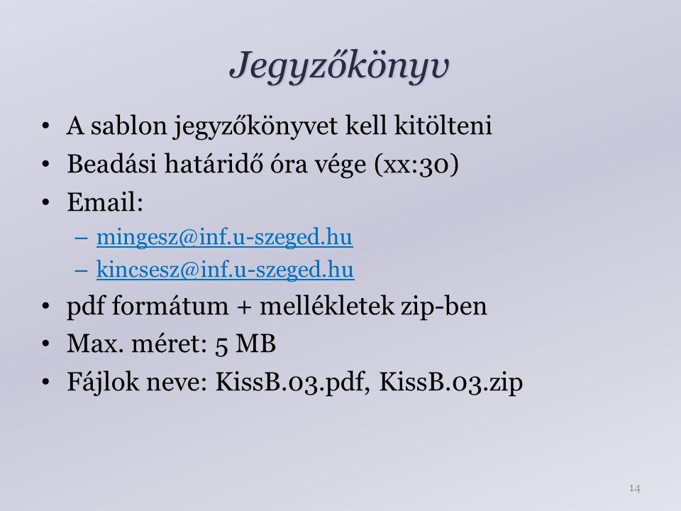 Jegyzőkönyv A sablon jegyzőkönyvet kell kitölteni Beadási határidő óra vége (xx:30) Email: – mingesz@inf.u-szeged.hu – kincsesz@inf.u-szeged.hu pdf formátum + mellékletek zip-ben Max.