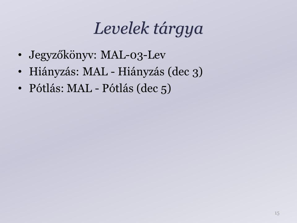 Levelek tárgya Jegyzőkönyv: MAL-03-Lev Hiányzás: MAL - Hiányzás (dec 3) Pótlás: MAL - Pótlás (dec 5) 15