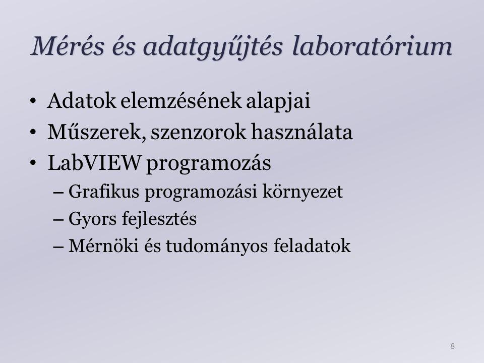 Mérés és adatgyűjtés laboratórium Adatok elemzésének alapjai Műszerek, szenzorok használata LabVIEW programozás – Grafikus programozási környezet – Gyors fejlesztés – Mérnöki és tudományos feladatok 8