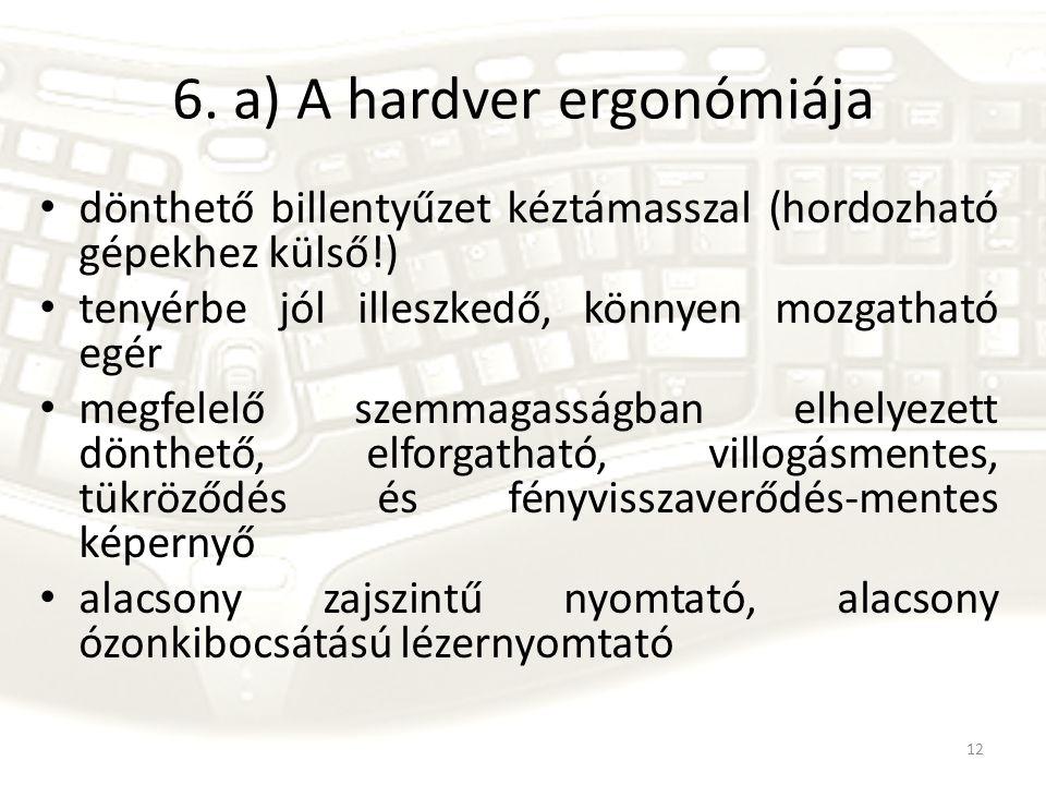 12 6. a) A hardver ergonómiája dönthető billentyűzet kéztámasszal (hordozható gépekhez külső!) tenyérbe jól illeszkedő, könnyen mozgatható egér megfel