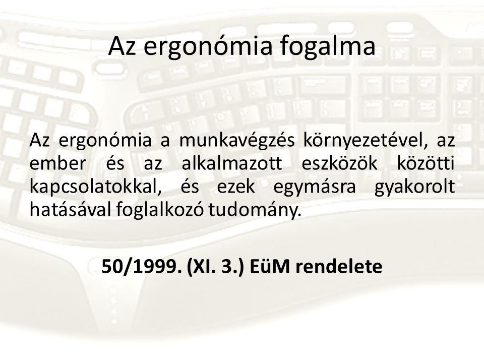Az ergonómia fogalma Az ergonómia a munkavégzés környezetével, az ember és az alkalmazott eszközök közötti kapcsolatokkal, és ezek egymásra gyakorolt