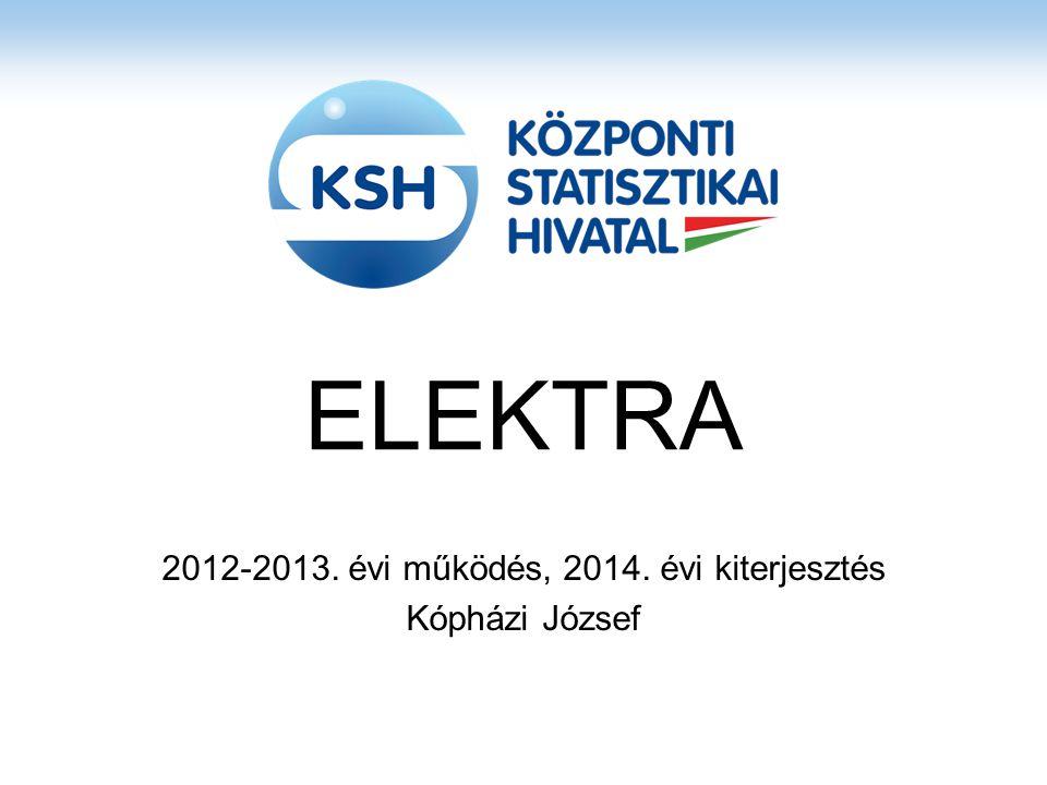Az elektronikus adatgyűjtés fejlődése 2004 – 2006 KSHXML Jelentős megszorítások a kérdőív méretére, bonyolultságára Szűkített funkcionalitású kérdőívszerkesztő 2009 – 2011 Elektra EKOP 1.A.1 támogatással Új technológia alkalmazásával a korlátok megszűntek Hatékony kérdőívszerkesztő 2013 -2014 Elektra kiterjesztés a Hivatalos Statisztikai Szolgálat részére EKOP 2.A.2 támogatással A rendszer elérhetővé tétele külső adatgyűjtők részére Új adatgyűjtések elektronizálása