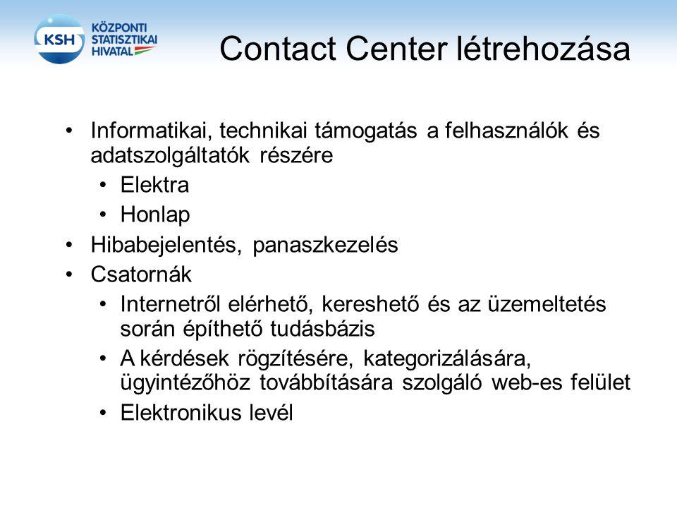 Contact Center létrehozása Informatikai, technikai támogatás a felhasználók és adatszolgáltatók részére Elektra Honlap Hibabejelentés, panaszkezelés Csatornák Internetről elérhető, kereshető és az üzemeltetés során építhető tudásbázis A kérdések rögzítésére, kategorizálására, ügyintézőhöz továbbítására szolgáló web-es felület Elektronikus levél