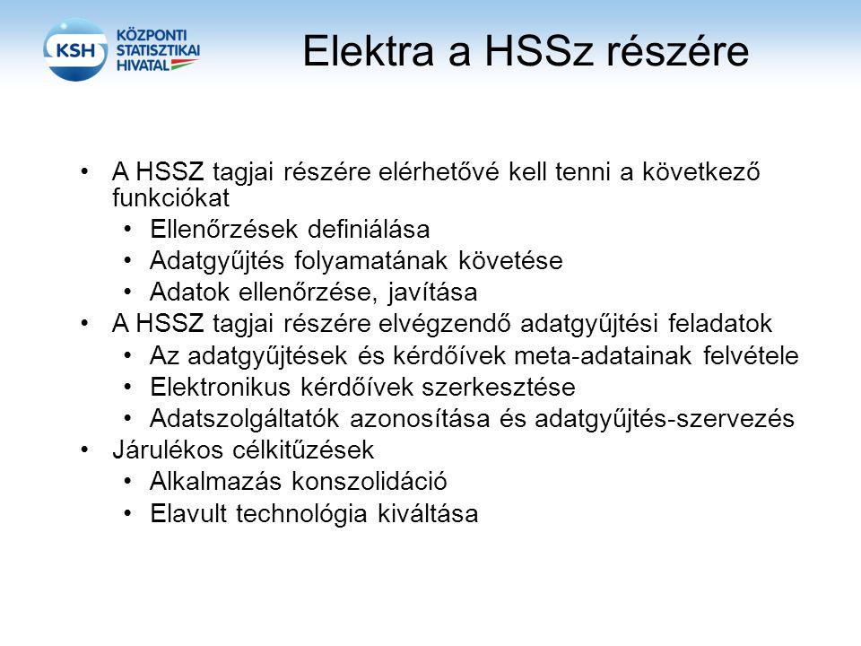 Elektra a HSSz részére A HSSZ tagjai részére elérhetővé kell tenni a következő funkciókat Ellenőrzések definiálása Adatgyűjtés folyamatának követése Adatok ellenőrzése, javítása A HSSZ tagjai részére elvégzendő adatgyűjtési feladatok Az adatgyűjtések és kérdőívek meta-adatainak felvétele Elektronikus kérdőívek szerkesztése Adatszolgáltatók azonosítása és adatgyűjtés-szervezés Járulékos célkitűzések Alkalmazás konszolidáció Elavult technológia kiváltása