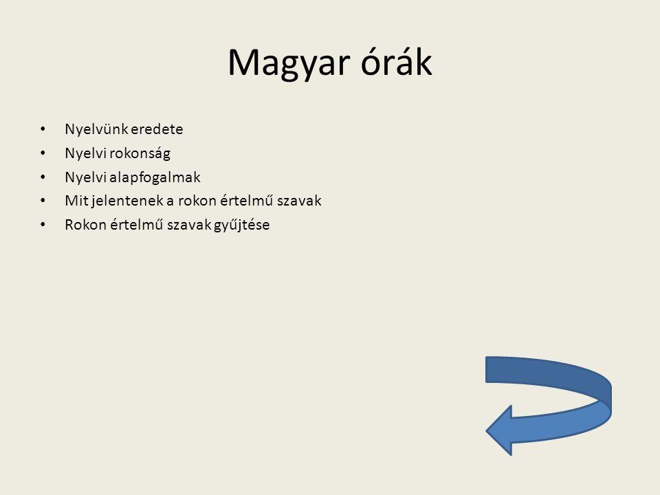 Magyar órák Nyelvünk eredete Nyelvi rokonság Nyelvi alapfogalmak Mit jelentenek a rokon értelmű szavak Rokon értelmű szavak gyűjtése