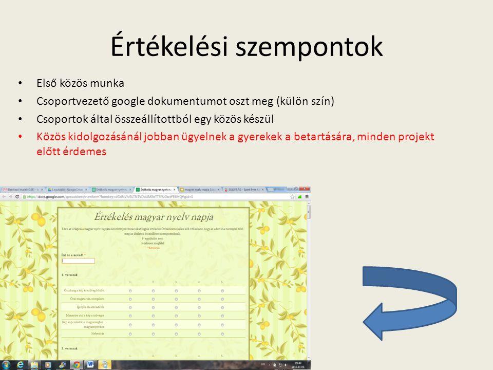 Értékelési szempontok Első közös munka Csoportvezető google dokumentumot oszt meg (külön szín) Csoportok által összeállítottból egy közös készül Közös