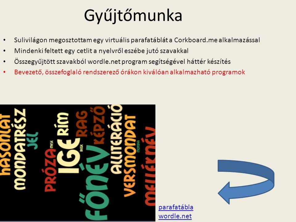 Gyűjtőmunka Sulivilágon megosztottam egy virtuális parafatáblát a Corkboard.me alkalmazással Mindenki feltett egy cetlit a nyelvről eszébe jutó szavak