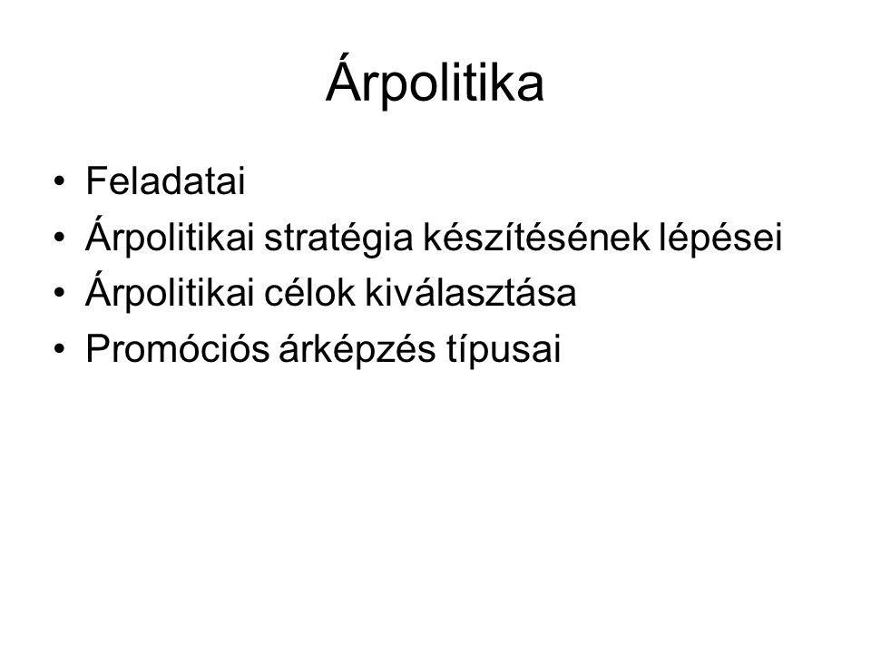 Árpolitika Feladatai Árpolitikai stratégia készítésének lépései Árpolitikai célok kiválasztása Promóciós árképzés típusai