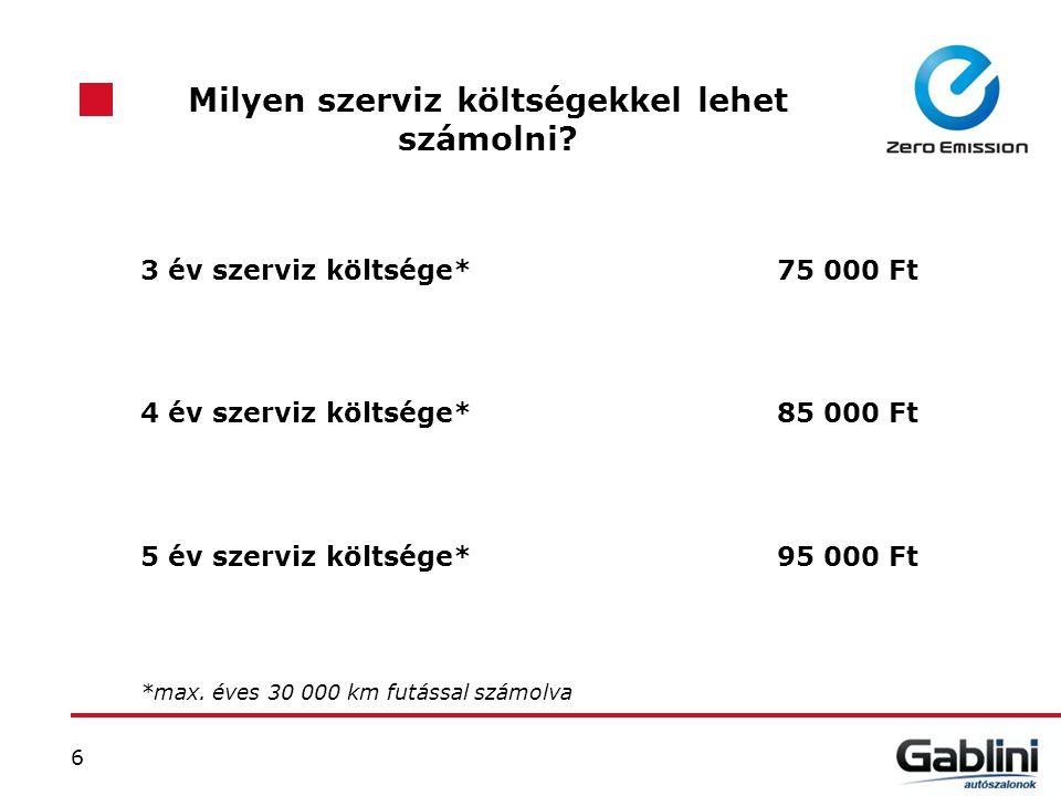 6 Milyen szerviz költségekkel lehet számolni? 3 év szerviz költsége*75 000 Ft 4 év szerviz költsége*85 000 Ft 5 év szerviz költsége* 95 000 Ft *max. é