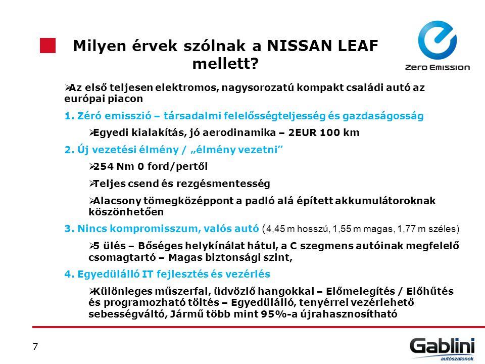 7 Milyen érvek szólnak a NISSAN LEAF mellett?  Az első teljesen elektromos, nagysorozatú kompakt családi autó az európai piacon 1. Zéró emisszió – tá