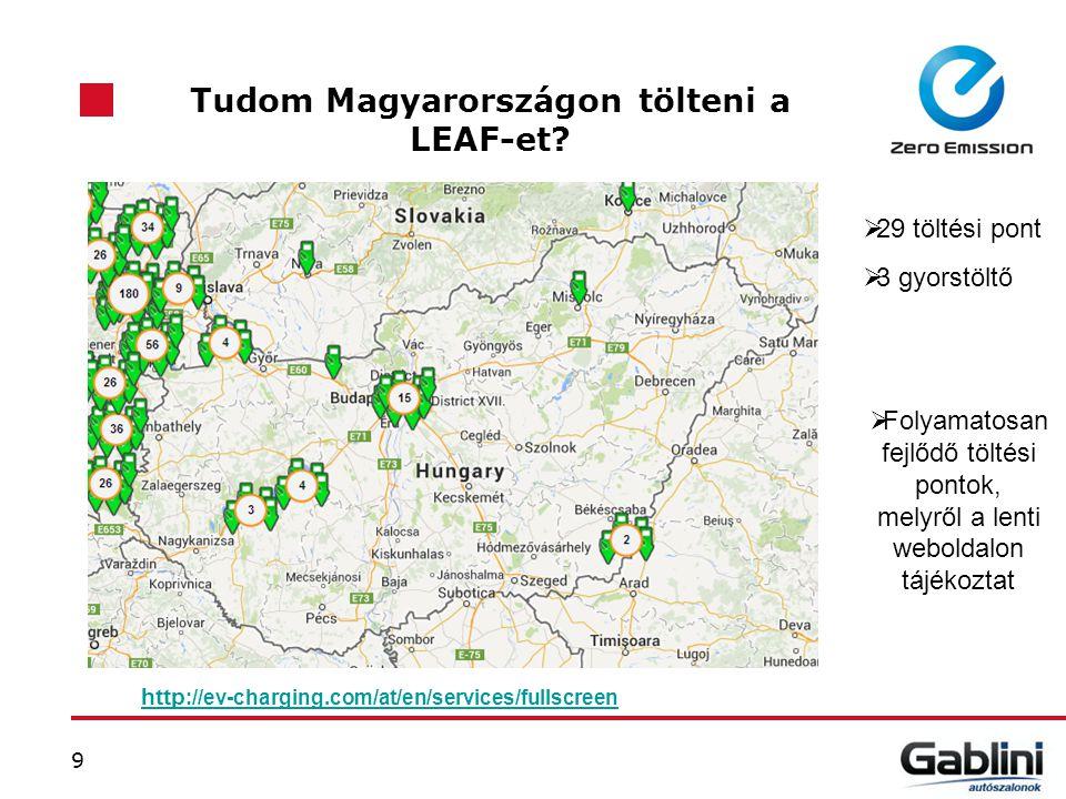 9 Tudom Magyarországon tölteni a LEAF-et? http ://ev-charging.com/at/en/services/fullscreen  29 töltési pont  3 gyorstöltő  Folyamatosan fejlődő tö