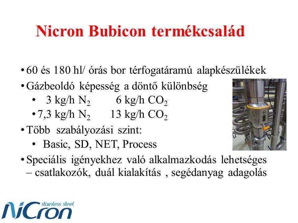 Nicron Bubicon termékcsalád 60 és 180 hl/ órás bor térfogatáramú alapkészülékek Gázbeoldó képesség a döntő különbség 3 kg/h N 2 6 kg/h CO 2 7,3 kg/h N 2 13 kg/h CO 2 Több szabályozási szint: Basic, SD, NET, Process Speciális igényekhez való alkalmazkodás lehetséges – csatlakozók, duál kialakítás, segédanyag adagolás