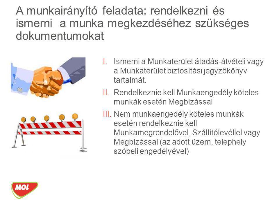 A munkairányító feladata: rendelkezni és ismerni a munka megkezdéséhez szükséges dokumentumokat I.Ismerni a Munkaterület átadás-átvételi vagy a Munkat