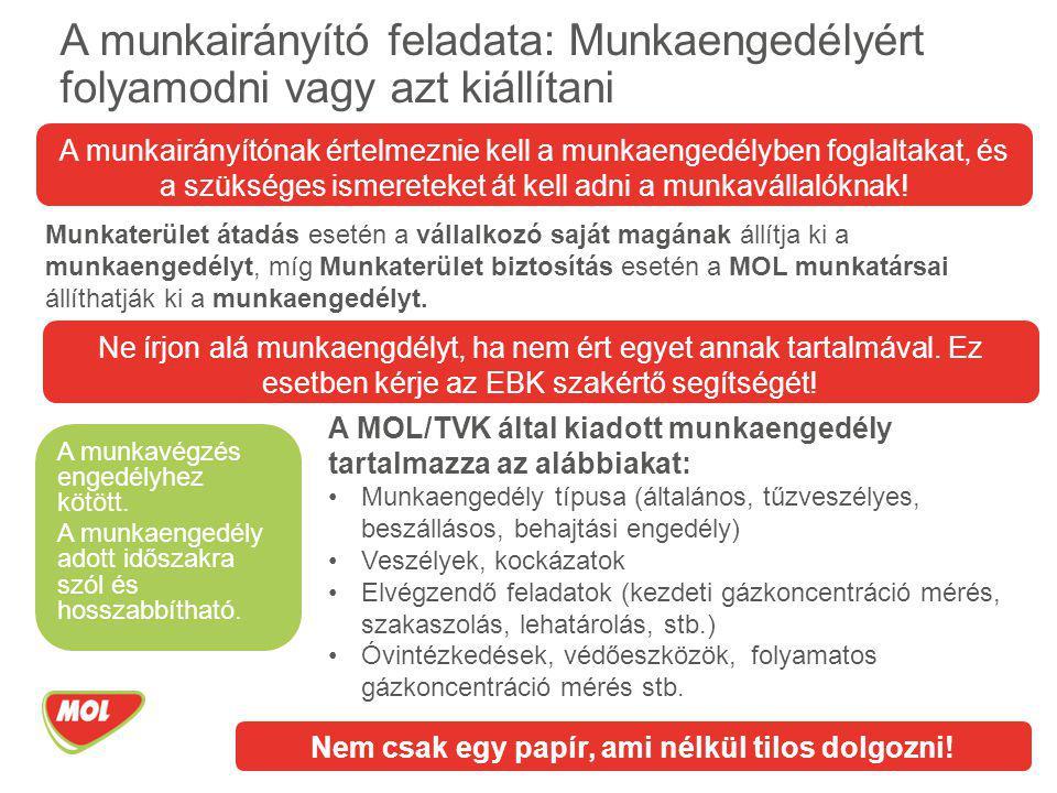 A MOL/TVK által kiadott munkaengedély tartalmazza az alábbiakat: Munkaengedély típusa (általános, tűzveszélyes, beszállásos, behajtási engedély) Veszé