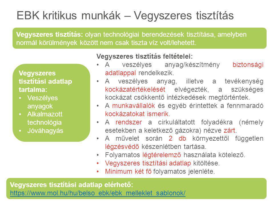 EBK kritikus munkák – Vegyszeres tisztítás Vegyszeres tisztítási adatlap tartalma: Veszélyes anyagok Alkalmazott technológia Jóváhagyás Vegyszeres tis