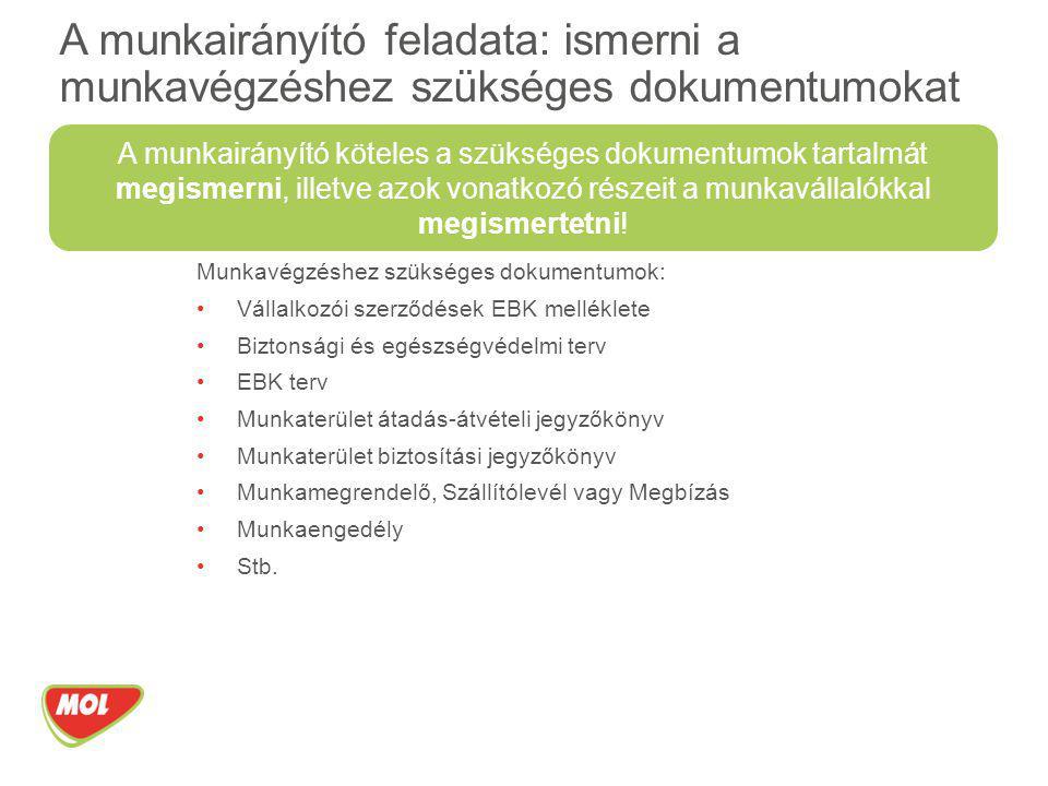 Munkavégzéshez szükséges dokumentumok: Vállalkozói szerződések EBK melléklete Biztonsági és egészségvédelmi terv EBK terv Munkaterület átadás-átvételi
