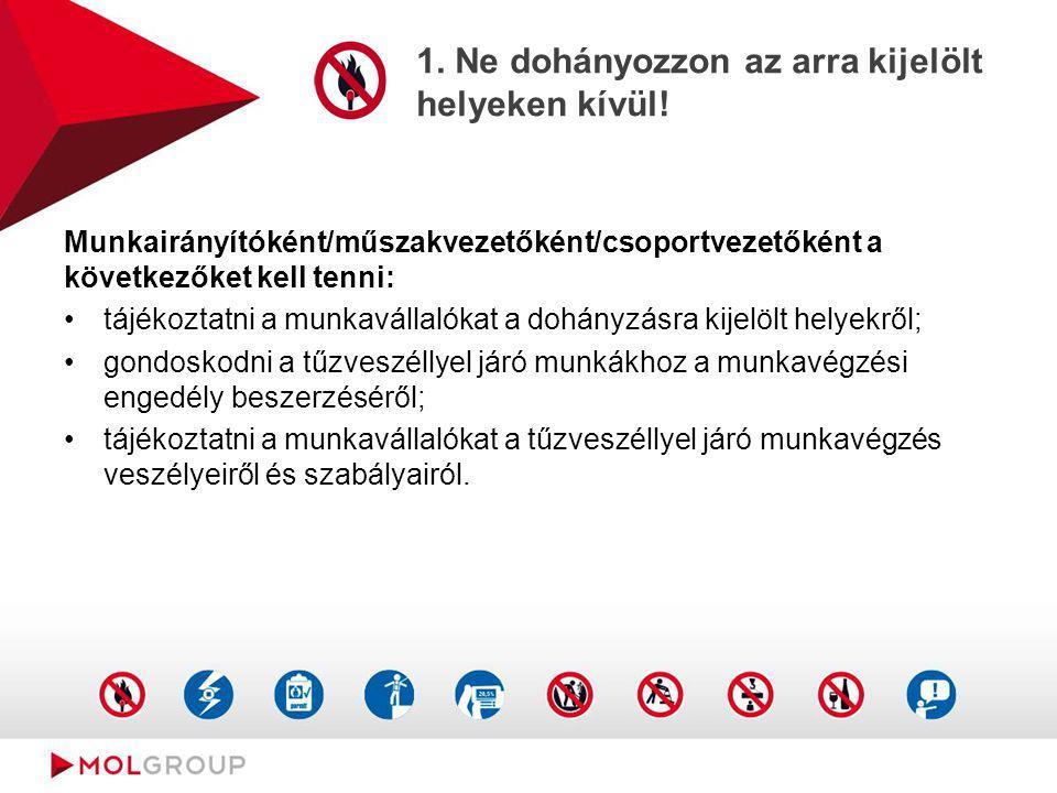 1. Ne dohányozzon az arra kijelölt helyeken kívül! Munkairányítóként/műszakvezetőként/csoportvezetőként a következőket kell tenni: tájékoztatni a munk
