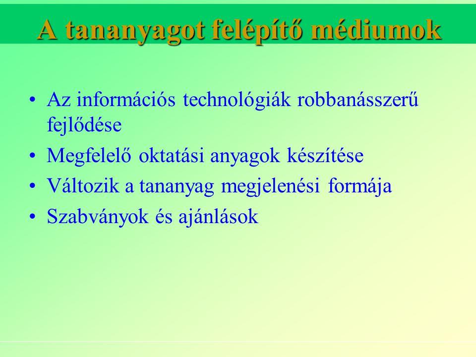 A tananyagot felépítő médiumok Az információs technológiák robbanásszerű fejlődése Megfelelő oktatási anyagok készítése Változik a tananyag megjelenési formája Szabványok és ajánlások