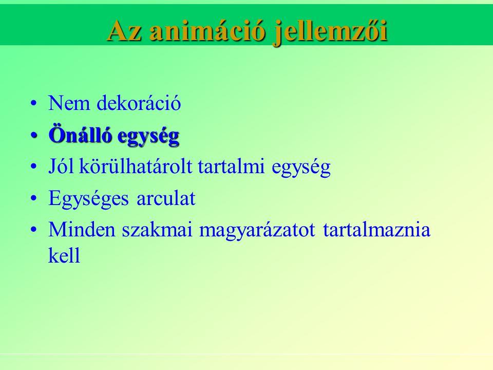 Az animáció jellemzői Nem dekoráció Önálló egységÖnálló egység Jól körülhatárolt tartalmi egység Egységes arculat Minden szakmai magyarázatot tartalmaznia kell