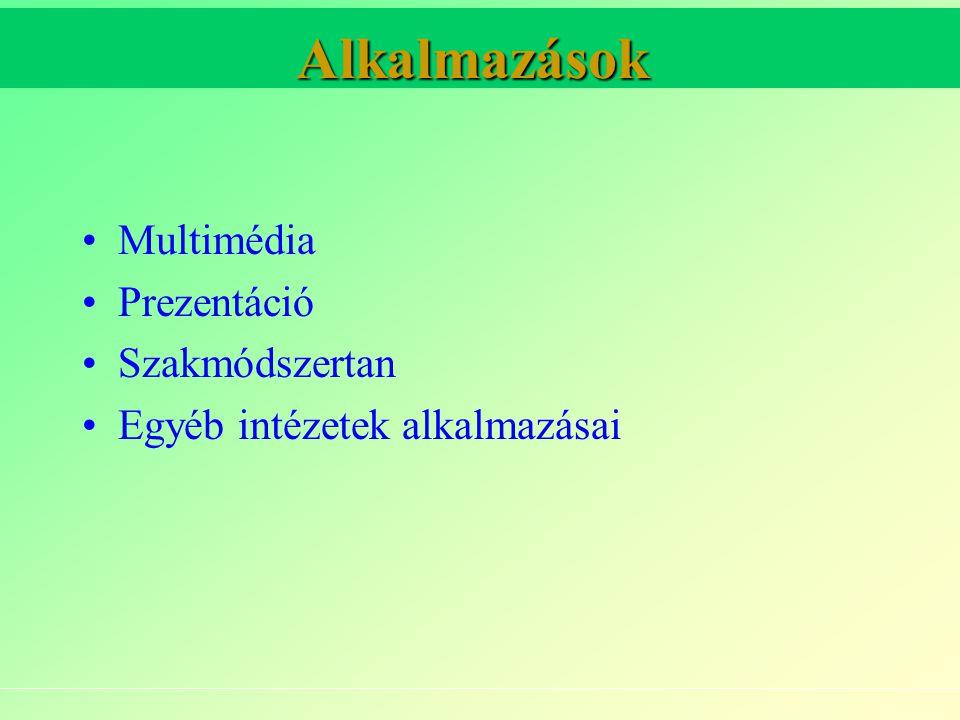 Alkalmazások Multimédia Prezentáció Szakmódszertan Egyéb intézetek alkalmazásai