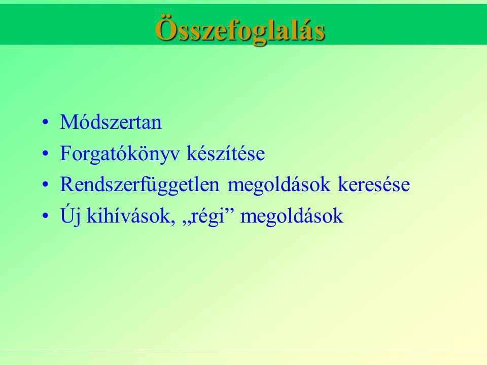 """Összefoglalás Módszertan Forgatókönyv készítése Rendszerfüggetlen megoldások keresése Új kihívások, """"régi megoldások"""