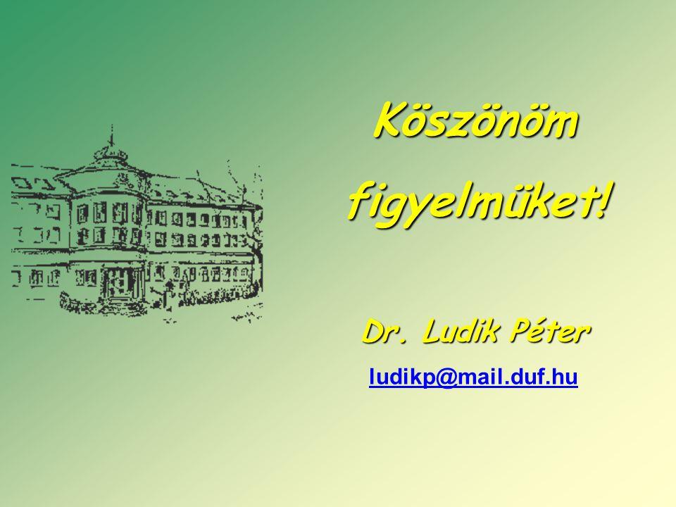 Köszönömfigyelmüket! Dr. Ludik Péter ludikp@mail.duf.hu