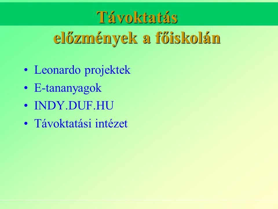 Távoktatás előzmények a főiskolán Leonardo projektek E-tananyagok INDY.DUF.HU Távoktatási intézet
