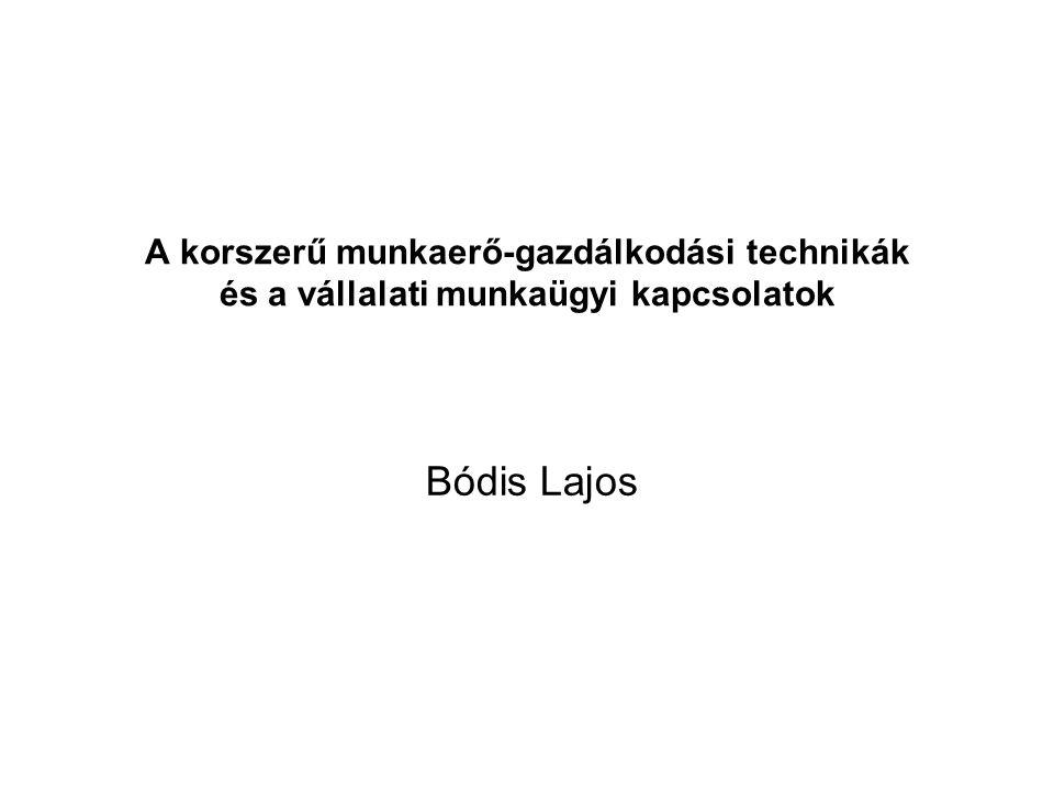 A korszerű munkaerő-gazdálkodási technikák és a vállalati munkaügyi kapcsolatok Bódis Lajos