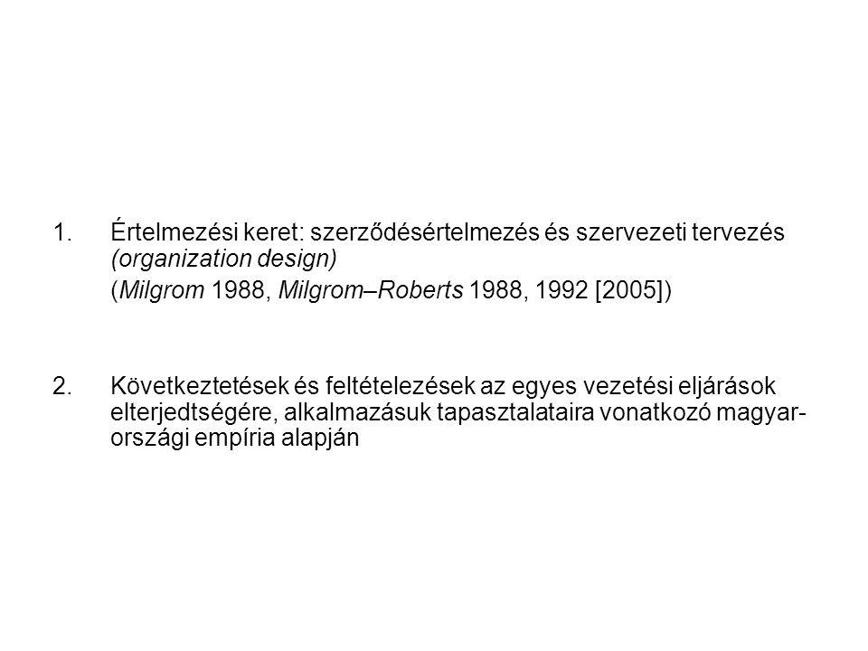 1. Értelmezési keret: szerződésértelmezés és szervezeti tervezés (organization design) (Milgrom 1988, Milgrom–Roberts 1988, 1992 [2005]) 2. Következte