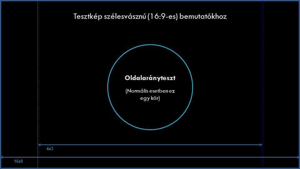 Tesztkép szélesvásznú (16:9-es) bemutatókhoz Oldalarányteszt (Normális esetben ez egy kör) 16x9 4x3