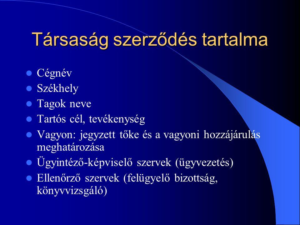 Társaság szerződés tartalma Cégnév Székhely Tagok neve Tartós cél, tevékenység Vagyon: jegyzett tőke és a vagyoni hozzájárulás meghatározása Ügyintéző-képviselő szervek (ügyvezetés) Ellenőrző szervek (felügyelő bizottság, könyvvizsgáló)