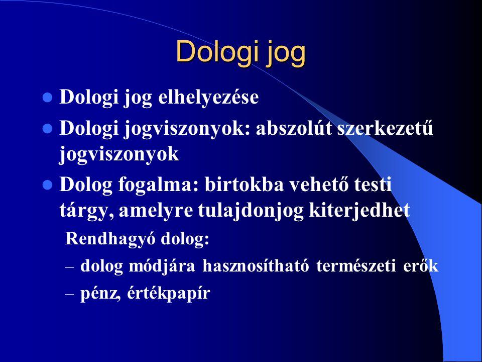 Dologi jog Dologi jog elhelyezése Dologi jogviszonyok: abszolút szerkezetű jogviszonyok Dolog fogalma: birtokba vehető testi tárgy, amelyre tulajdonjo