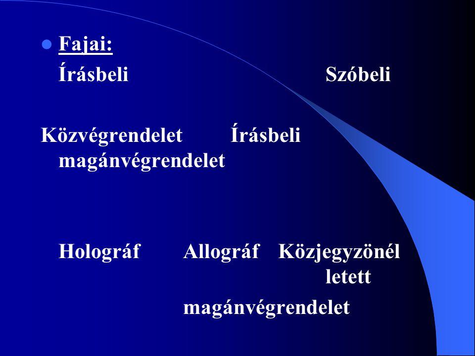 Fajai: Írásbeli Szóbeli KözvégrendeletÍrásbeli magánvégrendelet Holográf Allográf Közjegyzönél letett magánvégrendelet