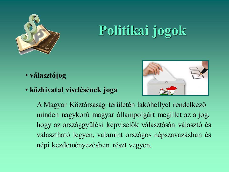 Politikai jogok választójog közhivatal viselésének joga A Magyar Köztársaság területén lakóhellyel rendelkező minden nagykorú magyar állampolgárt megi