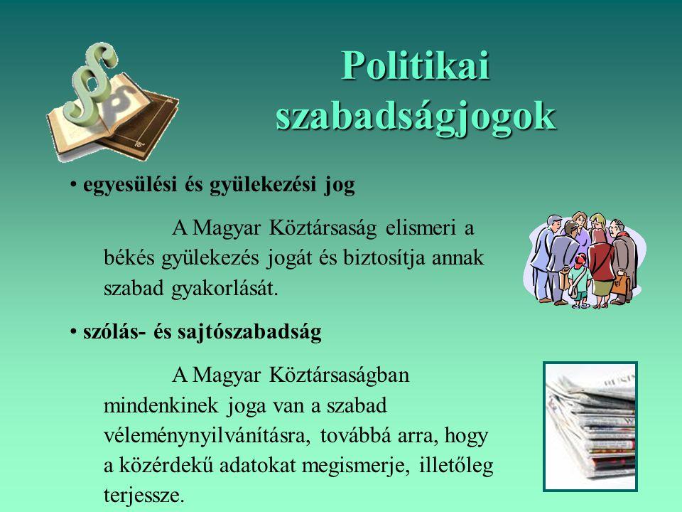 Politikai szabadságjogok egyesülési és gyülekezési jog A Magyar Köztársaság elismeri a békés gyülekezés jogát és biztosítja annak szabad gyakorlását.